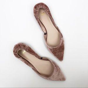 H&M Point Crushed Velvet Pink Flats Slip On Shoe 8